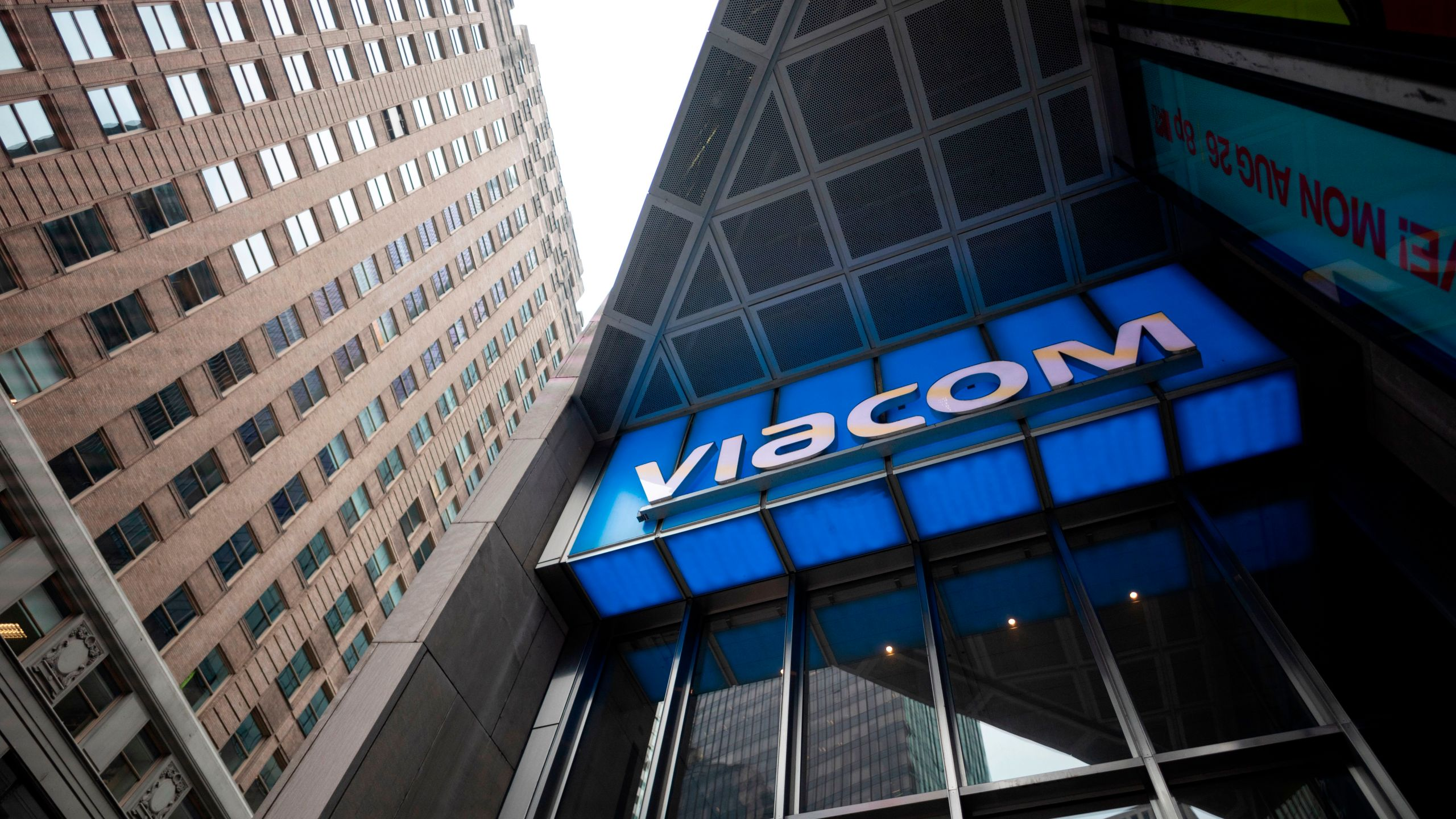 The Viacom logo is seen outside company headquarters in New York City on August 13, 2019. (JOHANNES EISELE/AFP via Getty Images)