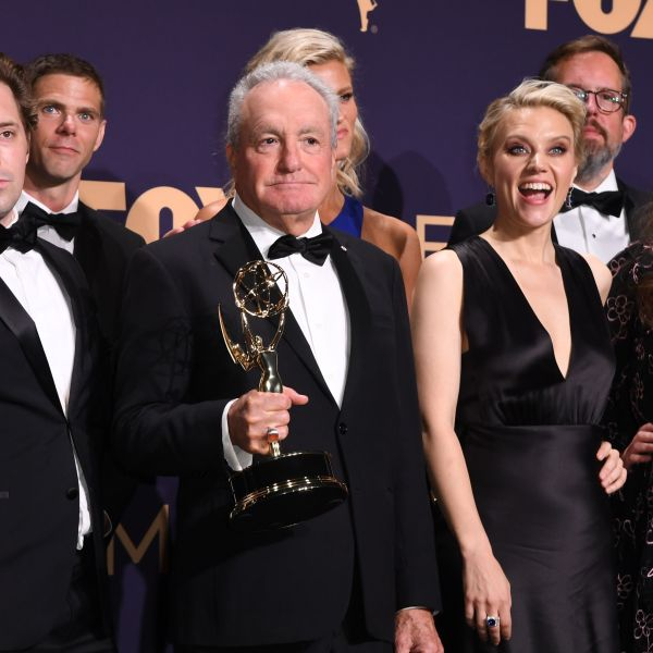 """Producer Lorne Michaels and cast members pose with the Outstanding Variety Sketch Series award for """"Saturday Night Live"""" during the 71st Emmy Awards at the Microsoft Theatre in Los Angeles on Sept. 22, 2019. (ROBYN BECK/AFP via Getty Images)"""