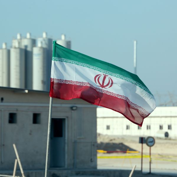 A picture taken on November 10, 2019, shows an Iranian flag in Iran's Bushehr nuclear power plant, during an official ceremony to kick-start works on a second reactor at the facility. (ATTA KENARE/AFP via Getty Images)