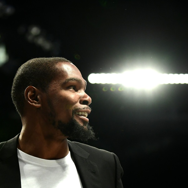 An injured Kevin Durant of the Brooklyn Nets stands on the sidelines during a game against the Minnesota Timberwolves at Barclays Center in Brooklyn on Oct. 23, 2019. (Credit: Emilee Chinn / Getty Images)
