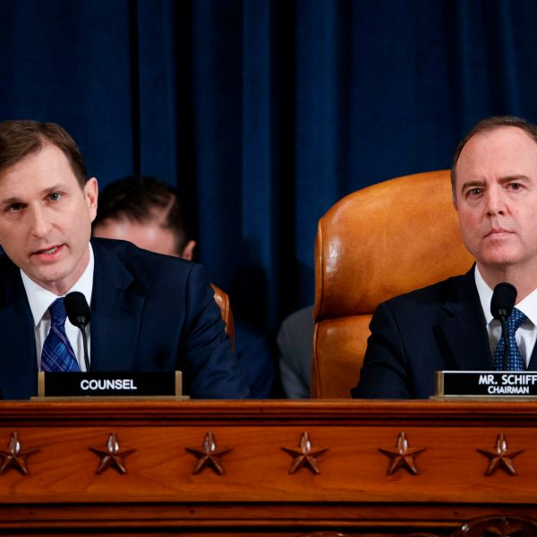 Democratic Chairman of the House Permanent Select Committee on Intelligence Adam Schiff (R) listens as Democratic legal counsel Daniel Goldman (L) questions Director for European Affairs of the National Security Council, U.S. Army Lieutenant Colonel Alexander Vindman during the House Permanent Select Committee on Intelligence public hearing on the impeachment inquiry into President Donald J. Trump, on Capitol Hill in Washington,DC on Nov. 19, 2019. (SHAWN THEW/POOL/AFP via Getty Images)