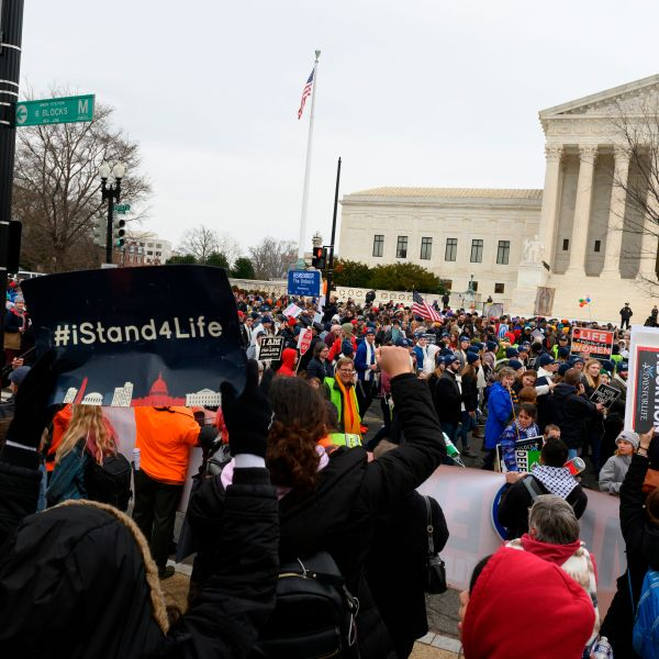 Anti-abortion advocates shout slogans while participating in the 47th annual March For Life in Washington, D.C., on Jan. 24, 2020. (ROBERTO SCHMIDT/AFP via Getty Images)