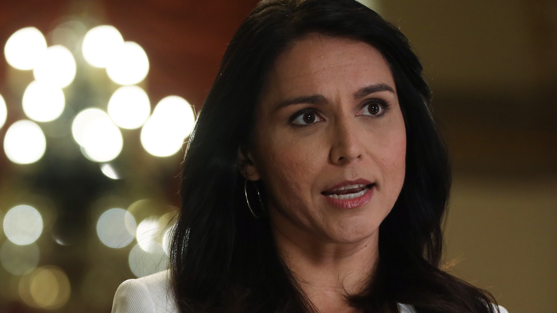 Rep. Tulsi Gabbard (D-HI) speaks during an interview at the U.S. Capitol on Jan. 9, 2020. (Alex Wong/Getty Images)