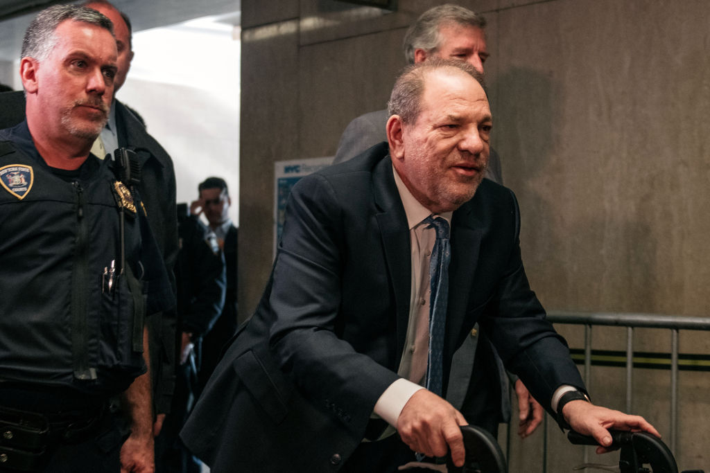 Harvey Weinstein (R) enters New York City Criminal Court on Feb. 24, 2020, in New York City. (Scott Heins/Getty Images)