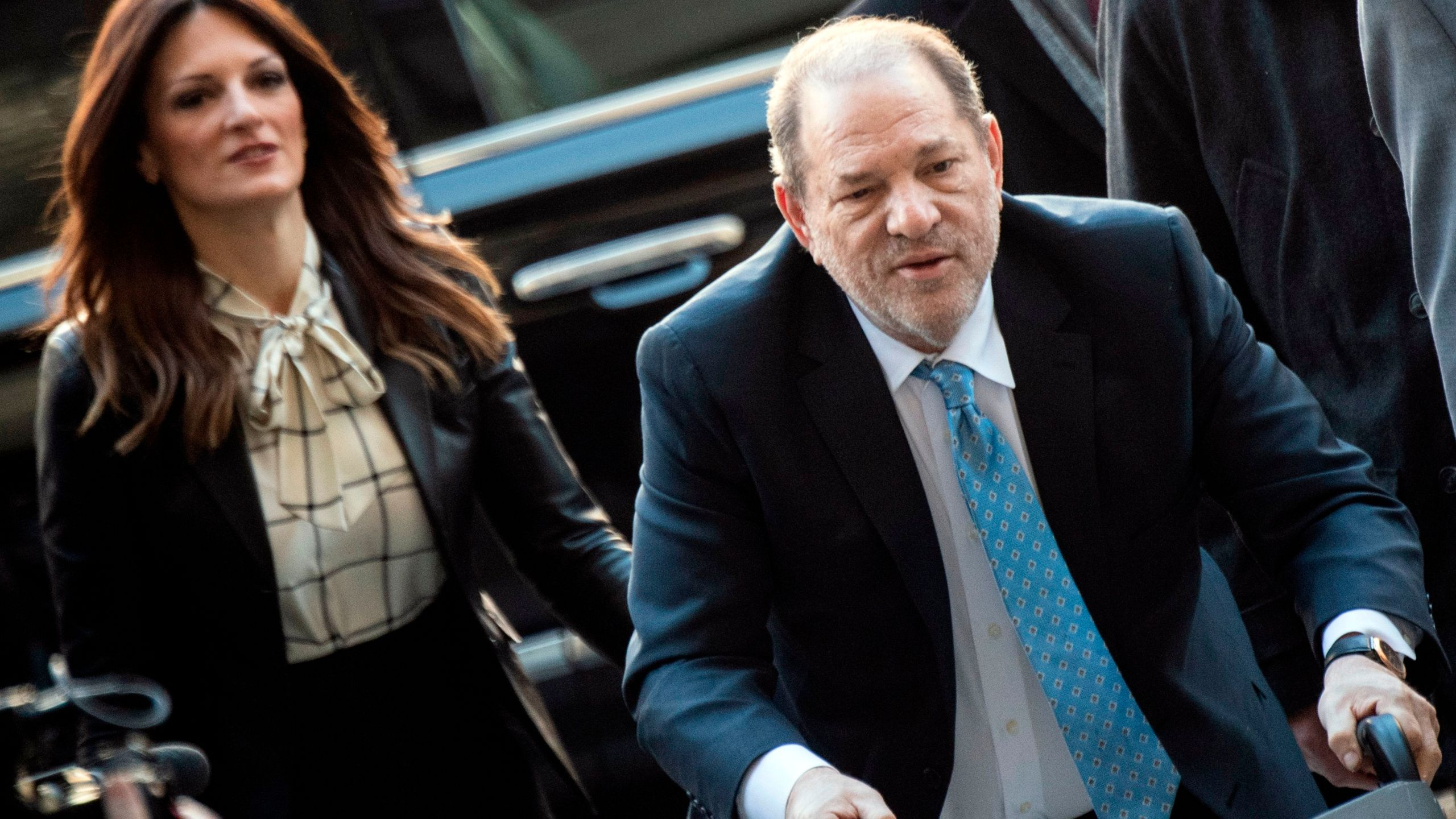 Harvey Weinstein arrives at the Manhattan Criminal Court, on Feb. 24, 2020, in New York City. (JOHANNES EISELE/AFP via Getty Images)