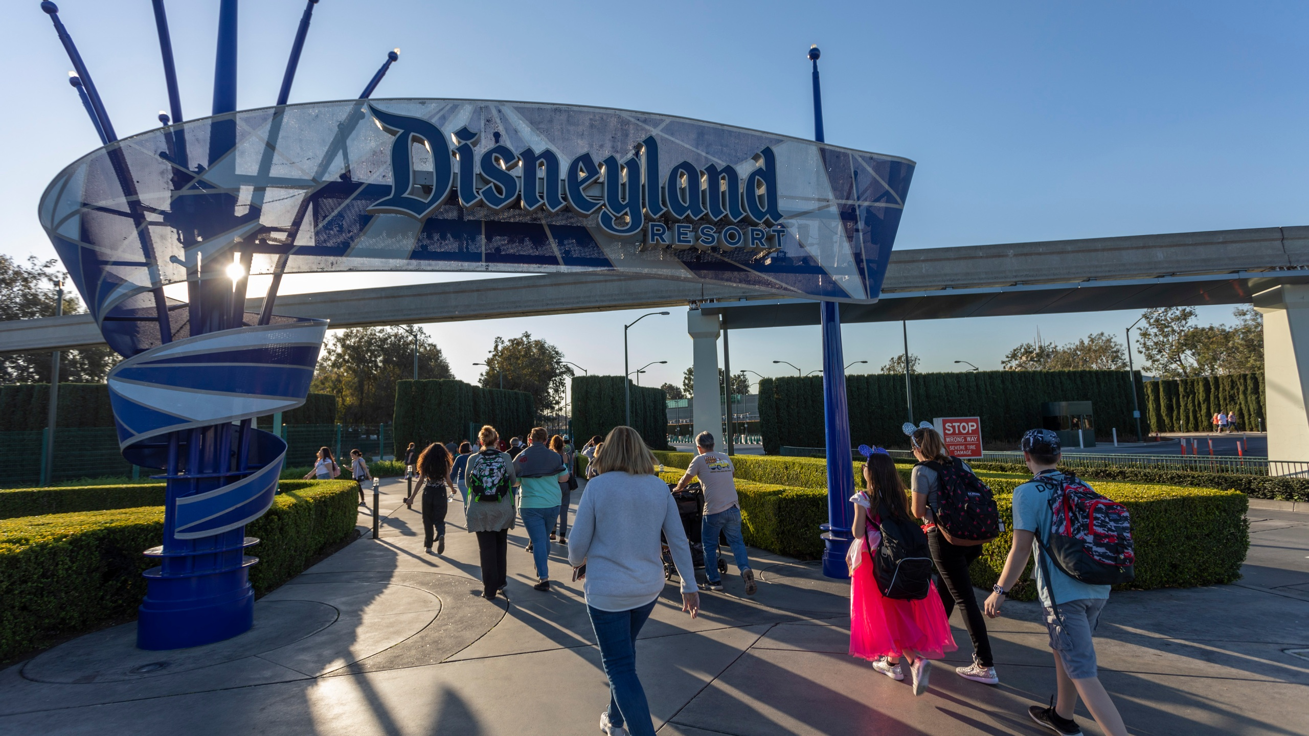 Visitors attend Disneyland Park on Feb. 25, 2020, in Anaheim. (David McNew/Getty Images)