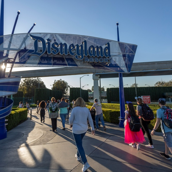 Visitors attend Disneyland Park on Feb. 25, 2020, in Anaheim. (David McNew/Getty Images)