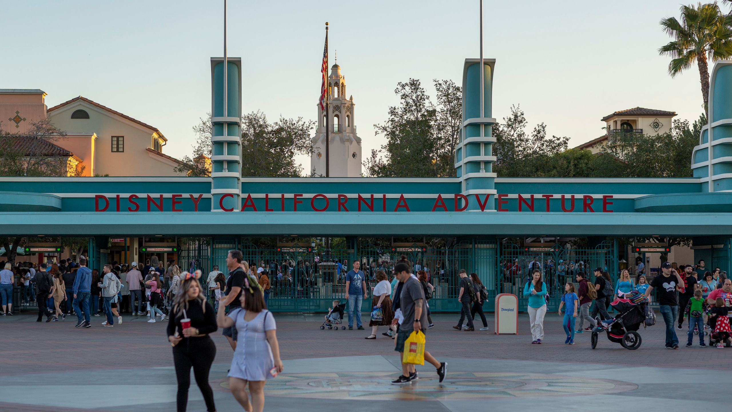 Visitors attend Disney California Adventure theme park on Feb. 25, 2020. (David McNew/Getty Images)