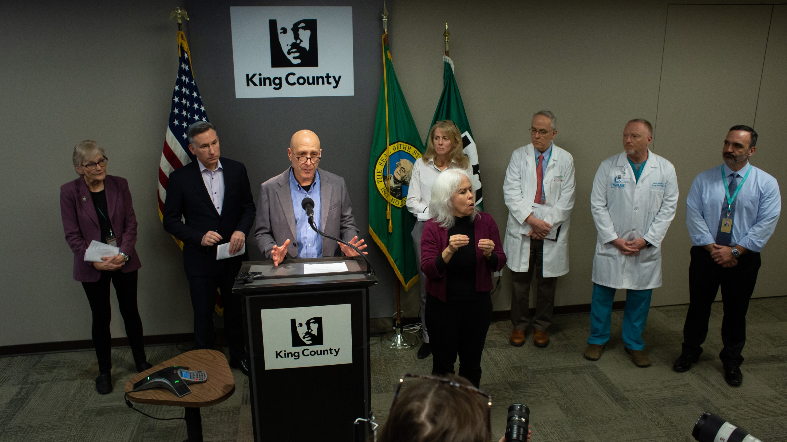 Dr. Jeff Duchin, a health officer with Seattle and King County Public Health, speaks during a press conference at Seattle and King County Public Health on Feb. 29, 2020 in Seattle, Washington. (David Ryder/Getty Images)