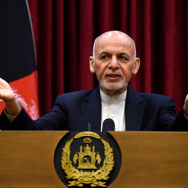 Afghan President Ashraf Ghani speaks during a press conference at the presidential palace in Kabul on March 1, 2020. (WAKIL KOHSAR/AFP via Getty Images)