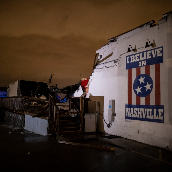 """A mural that reads """"I believe in Nashville"""" was heavily heavily damaged in a tornado on March 3, 2020 in Nashville, Tennessee. (Brett Carlsen/Getty Images)"""
