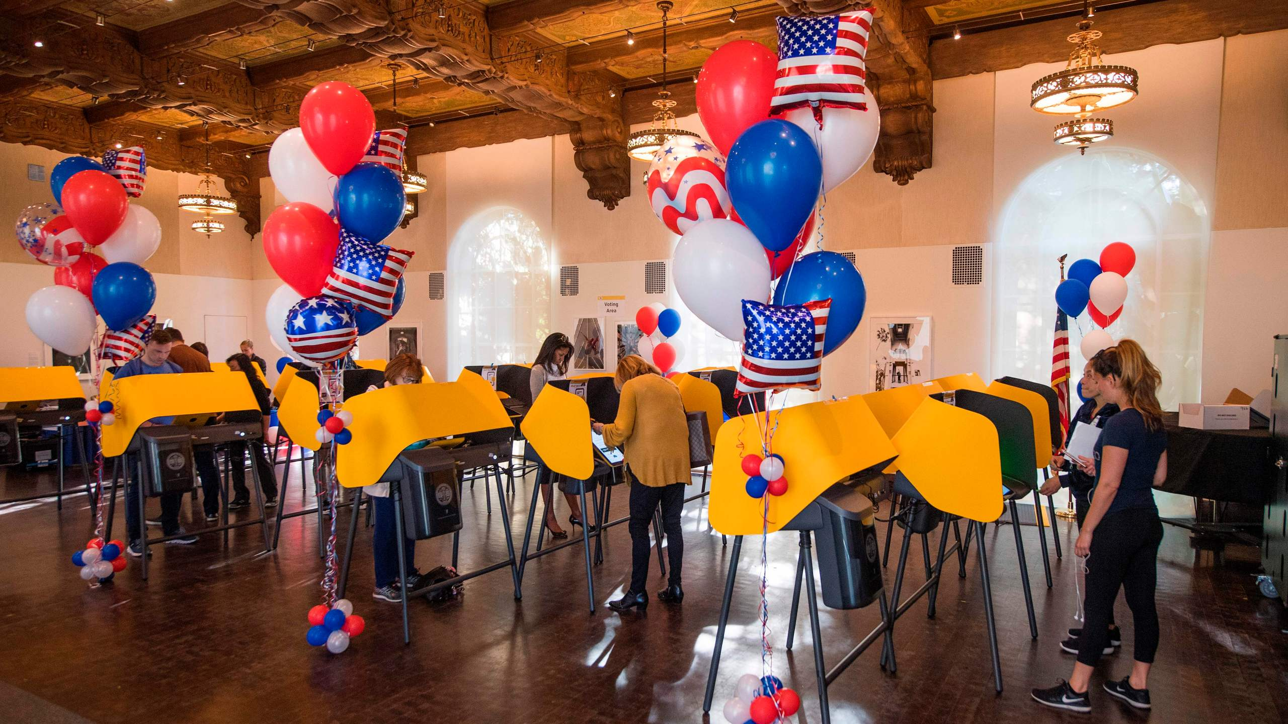 Residents cast their ballots during the presidential primary in Beverly Hills on Super Tuesday, March 3, 2020. (MARK RALSTON/AFP via Getty Images)