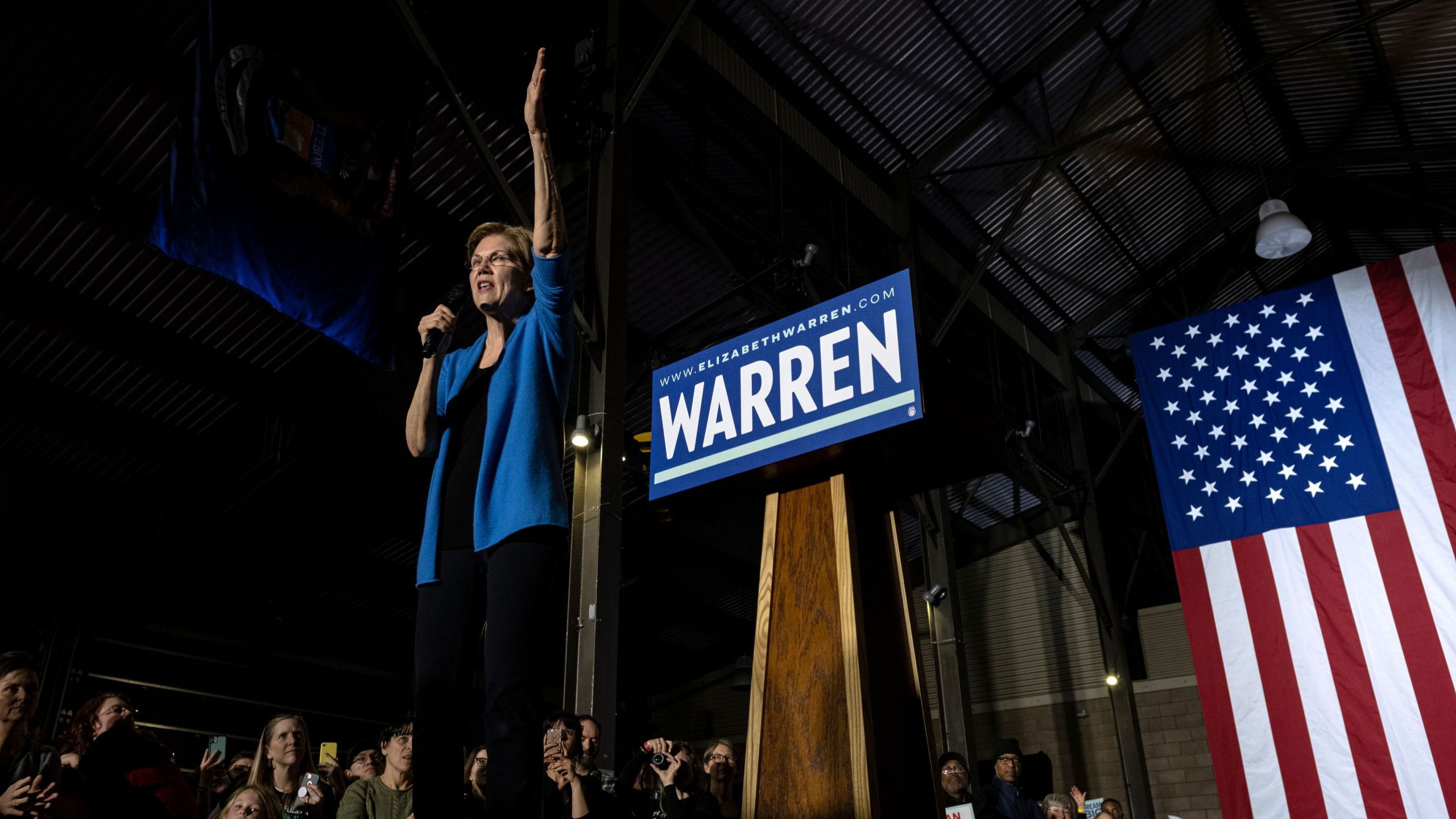 Sen. Elizabeth Warren gestures as she speaks at a rally March 3, 2020 in Detroit, Michigan at the Detroit Kitchen Connect on Super Tuesday. (SETH HERALD / APF / AFP)