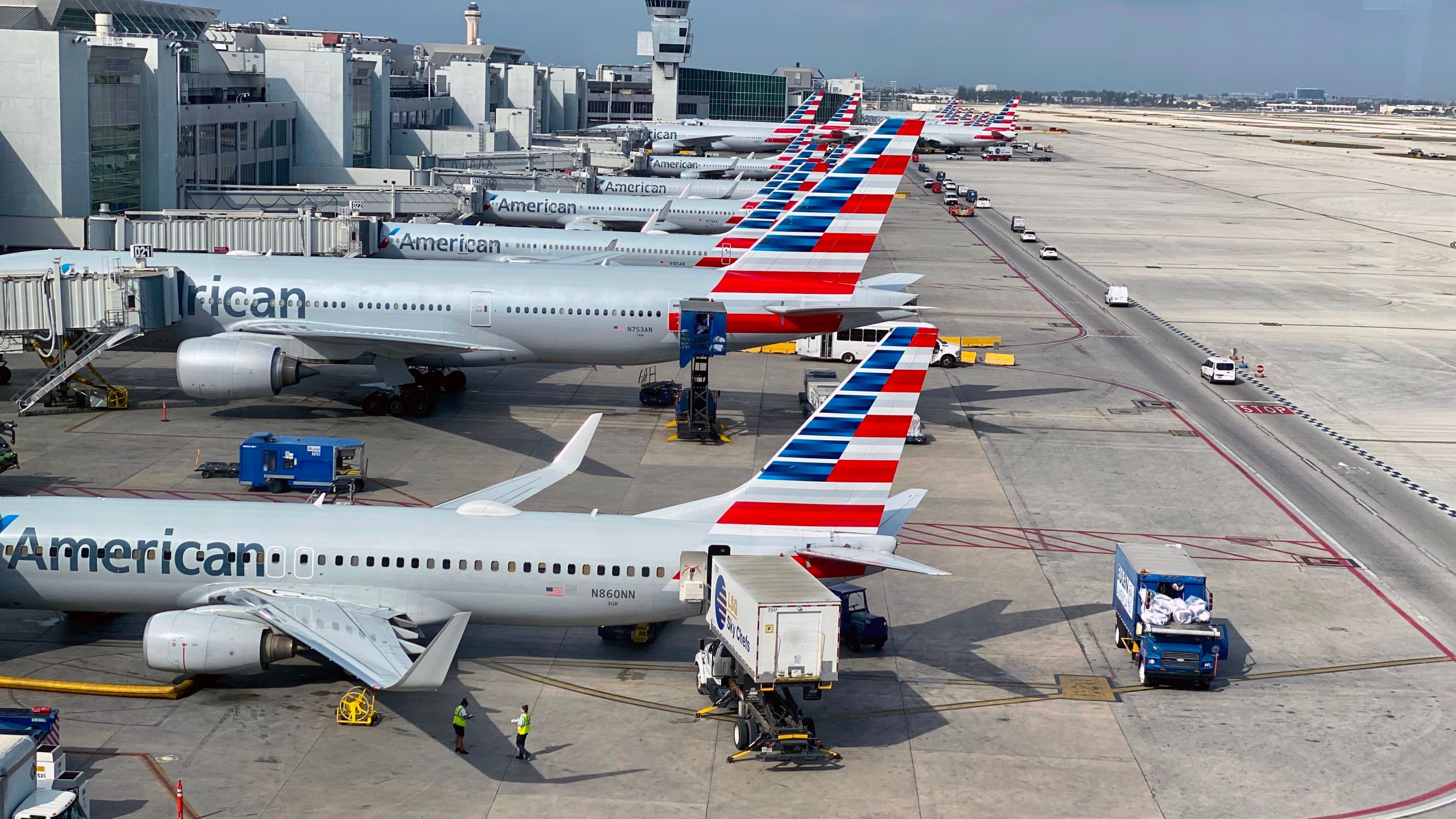 American Airlines planes are seen at Miami International Airport (MIA) on March 3, 2020, in Miami, Florida. (DANIEL SLIM/AFP via Getty Images)