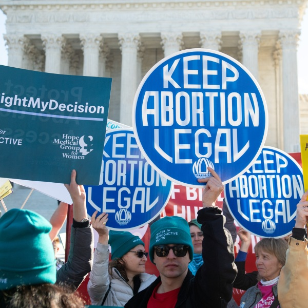 Pro-choice activists supporting legal access to abortion protest during a demonstration outside the U.S. Supreme Court in Washington, DC, March 4, 2020. (SAUL LOEB/AFP via Getty Images)