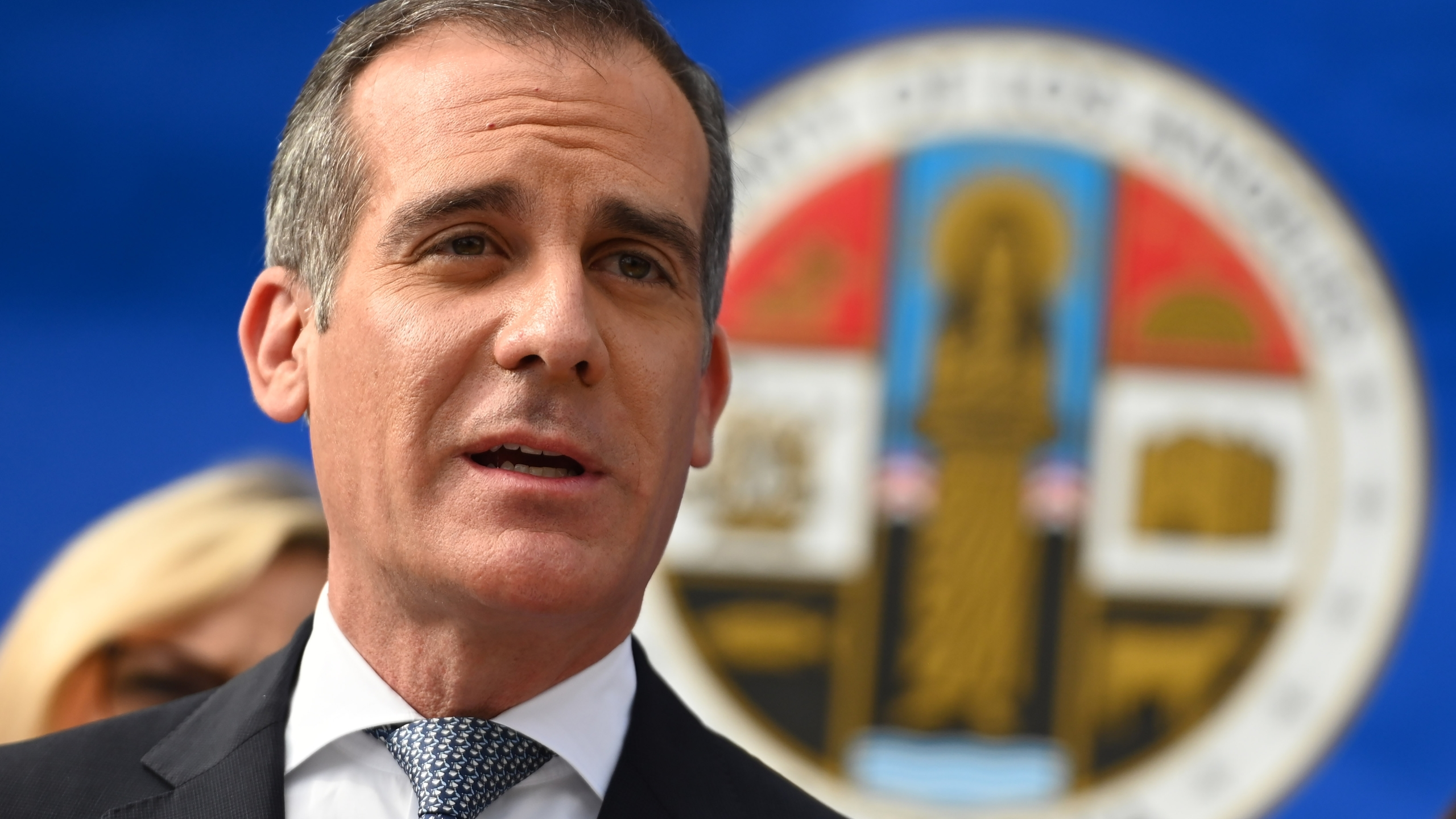 Mayor Eric Garcetti speaks at a L.A. County Health Department press conference on the novel coronavirus on March 4, 2020, in Los Angeles. (ROBYN BECK/AFP via Getty Images)