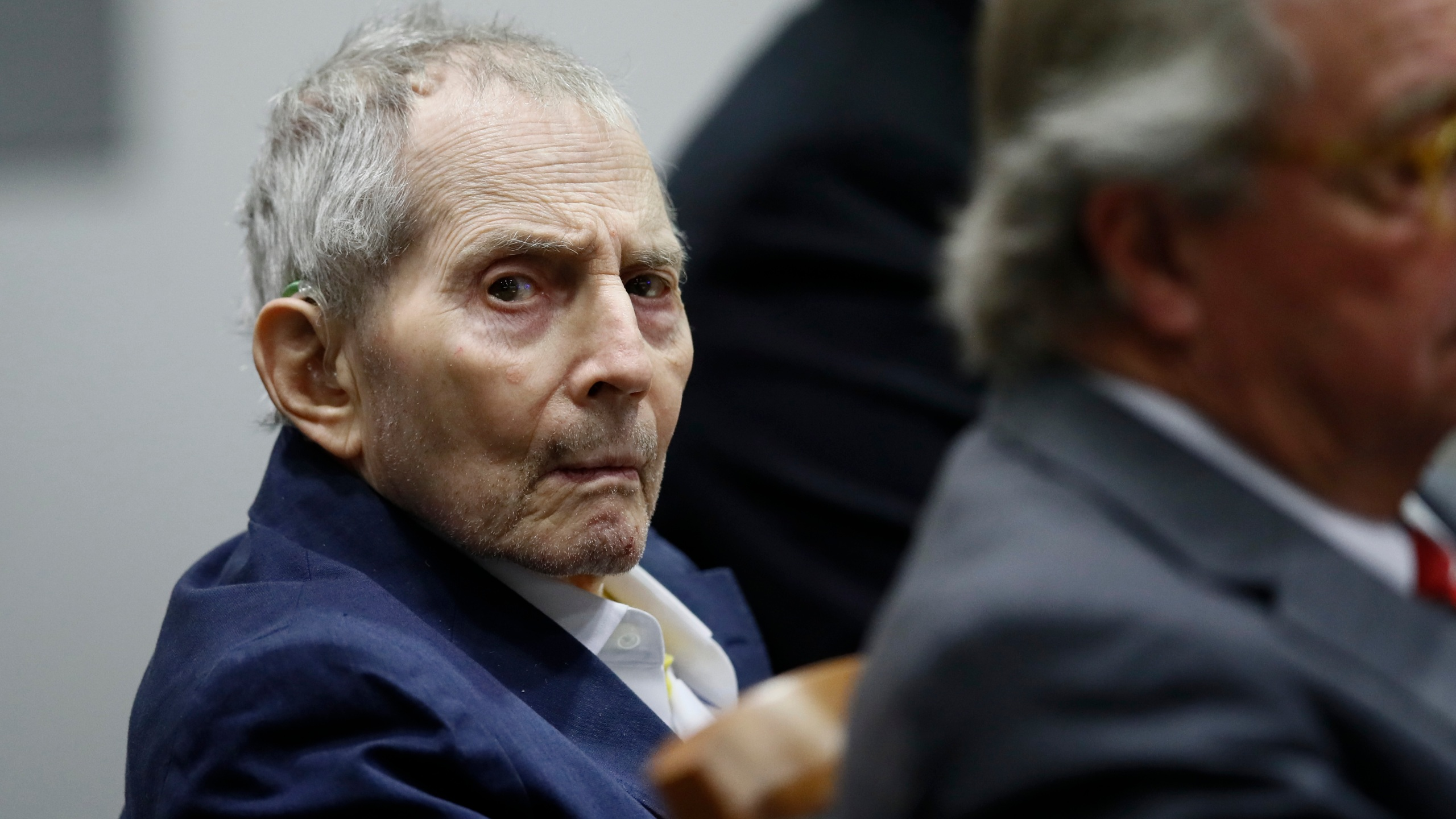 New York real estate scion Robert Durst appears in court during opening statements in his murder trial in Los Angeles on March 4, 2020. (Etienne Laurent / Getty Images)