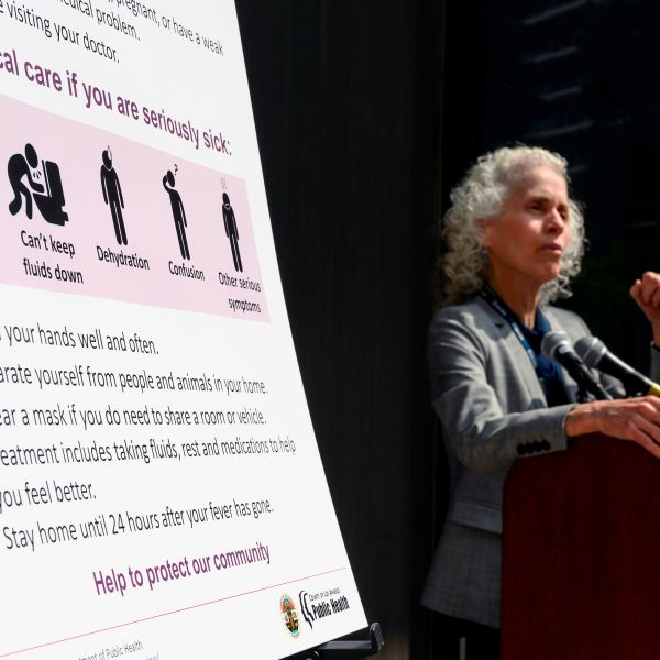 Los Angeles County Public Health director Barbara Ferrer speaks at a press conference on the COVID-19 outbreak on March 6, 2020 in Los Angeles. (ROBYN BECK/AFP via Getty Images)