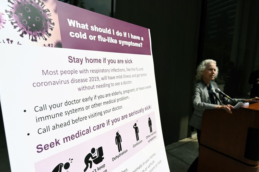 Los Angeles County Public Health director Barbara Ferrer speaks at a press conference on the novel COVID-19 on March 6, 2020 in Los Angeles. (ROBYN BECK/AFP via Getty Images)
