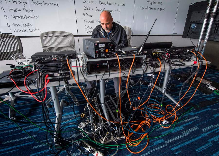 Staff from the Internet Corporation for Assigned Names and Numbers (ICANN) group, set up a virtual meeting space after canceling its travel plans and face to face meetings due to impact of the coronavirus in Playa del Rey on March 6, 2020. (MARK RALSTON/AFP via Getty Images)