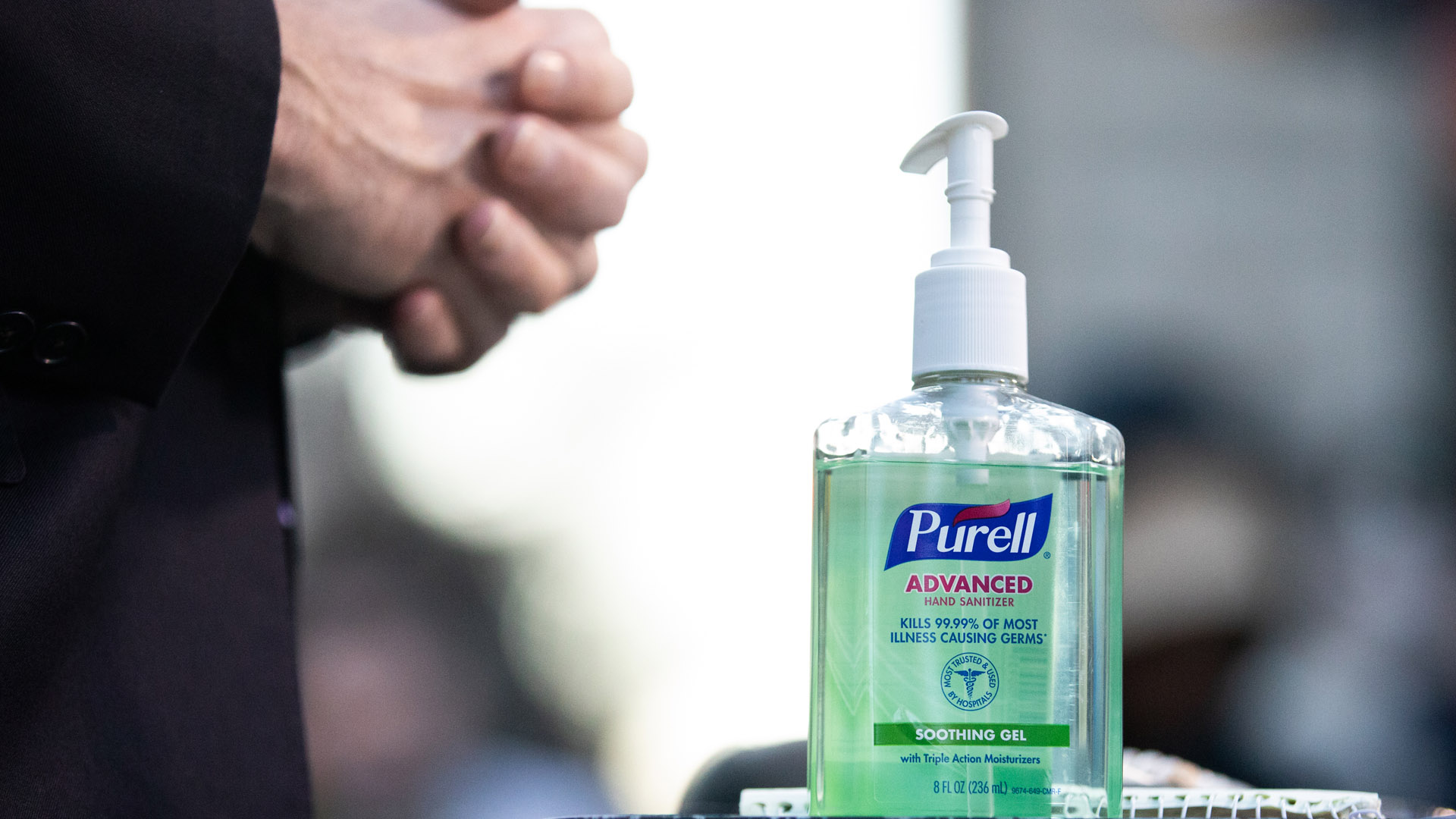 A bottle of hand-sanitizer is seen in Union Square on March 9, 2020, in New York City. (Jeenah Moon/Getty Images)