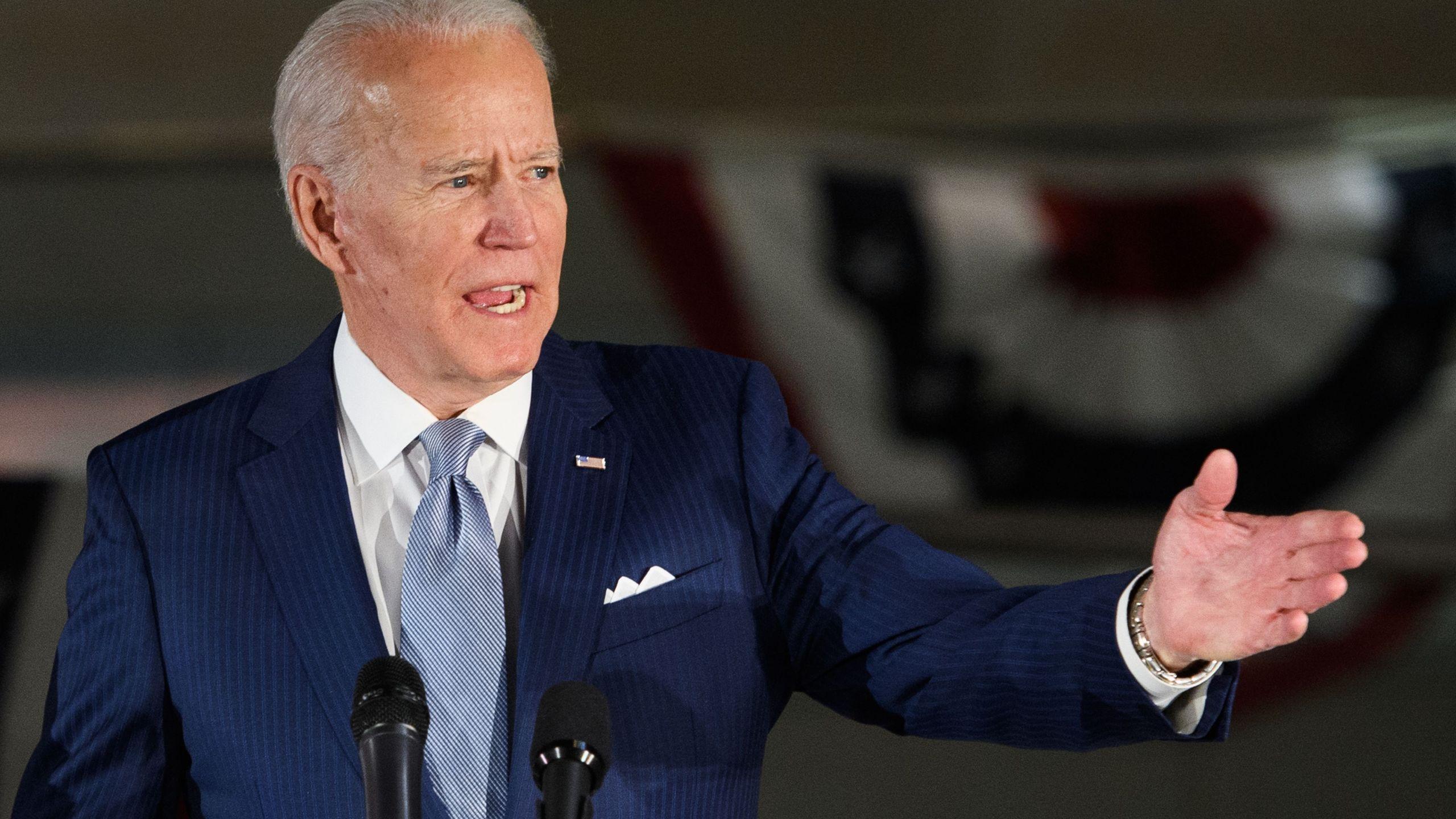 Democratic presidential hopeful former Vice President Joe Biden speaks at the National Constitution Center in Philadelphia, Pennsylvania on March 10, 2020. (MANDEL NGAN/AFP via Getty Images)