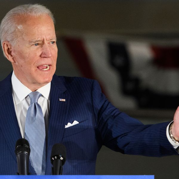 Democratic presidential hopeful former Vice President Joe Biden speaks at the National Constitution Center in Philadelphia, Pennsylvania on March 10, 2020. (MANDEL NGAN/AFP via Getty Images)