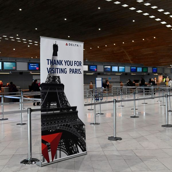 A picture taken on March 12, 2020 shows empty Delta Airlines check-in desk at Paris-Charles-de-Gaulle airport after a US 30-day ban on travel from Europe due to the COVID-19 spread in Roissy-en-France. (BERTRAND GUAY/AFP via Getty Images)
