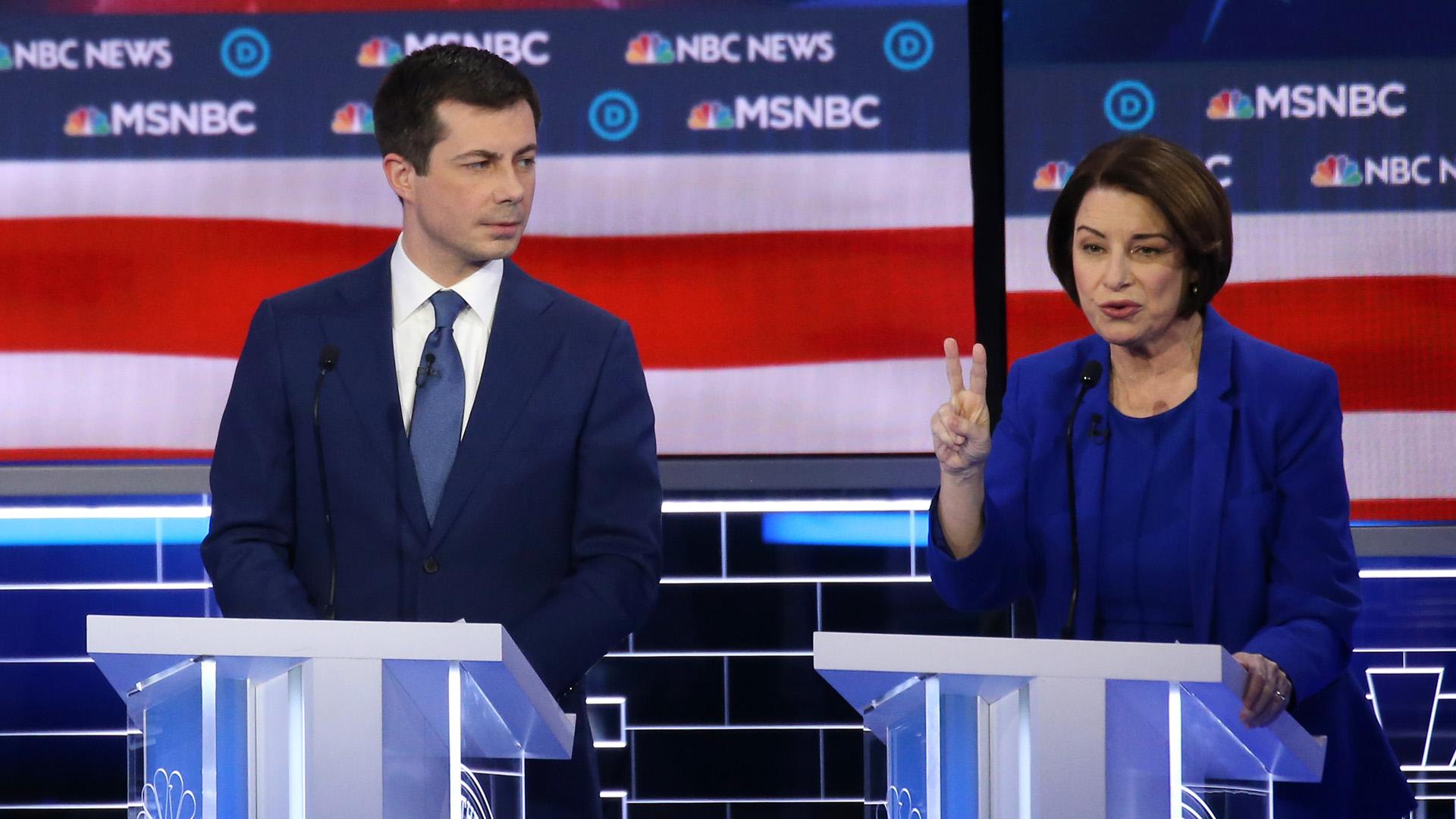 Pete Buttigieg and Amy Klobuchar participate in the Democratic presidential primary debate at Paris Las Vegas on Feb. 19, 2020 in Las Vegas, Nevada.(Credit: Mario Tama/Getty Images)
