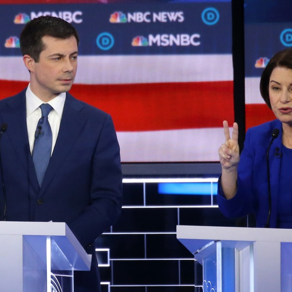 Pete Buttigieg and Amy Klobuchar participate in the Democratic presidential primary debate at Paris Las Vegas on Feb. 19, 2020 in Las Vegas, Nevada.(Credit: Mario Tama/Getty Images)
