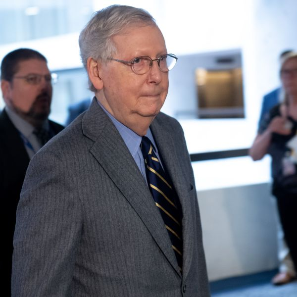 U.S. Senate Majority Leader Mitch McConnell arrives to attend a meeting to discuss a potential economic bill in response to the coronavirus outbreak, in Washington, D.C., on March 20, 2019. (SAUL LOEB/AFP via Getty Images)