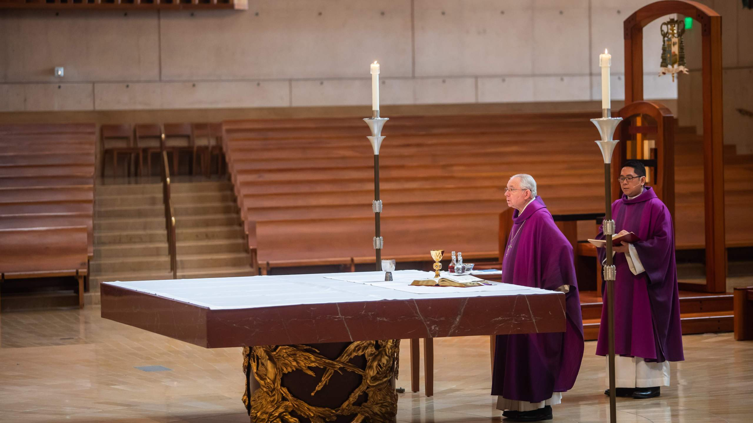 Archbishop Jose H. Gomez leads an online Sunday Service at the Cathedral of Our Lady of the Angels in downtown Los Angeles on March 22, 2020, after the church shut its doors to the public. (Credit: Apu Gomes / AFP / Getty Images)