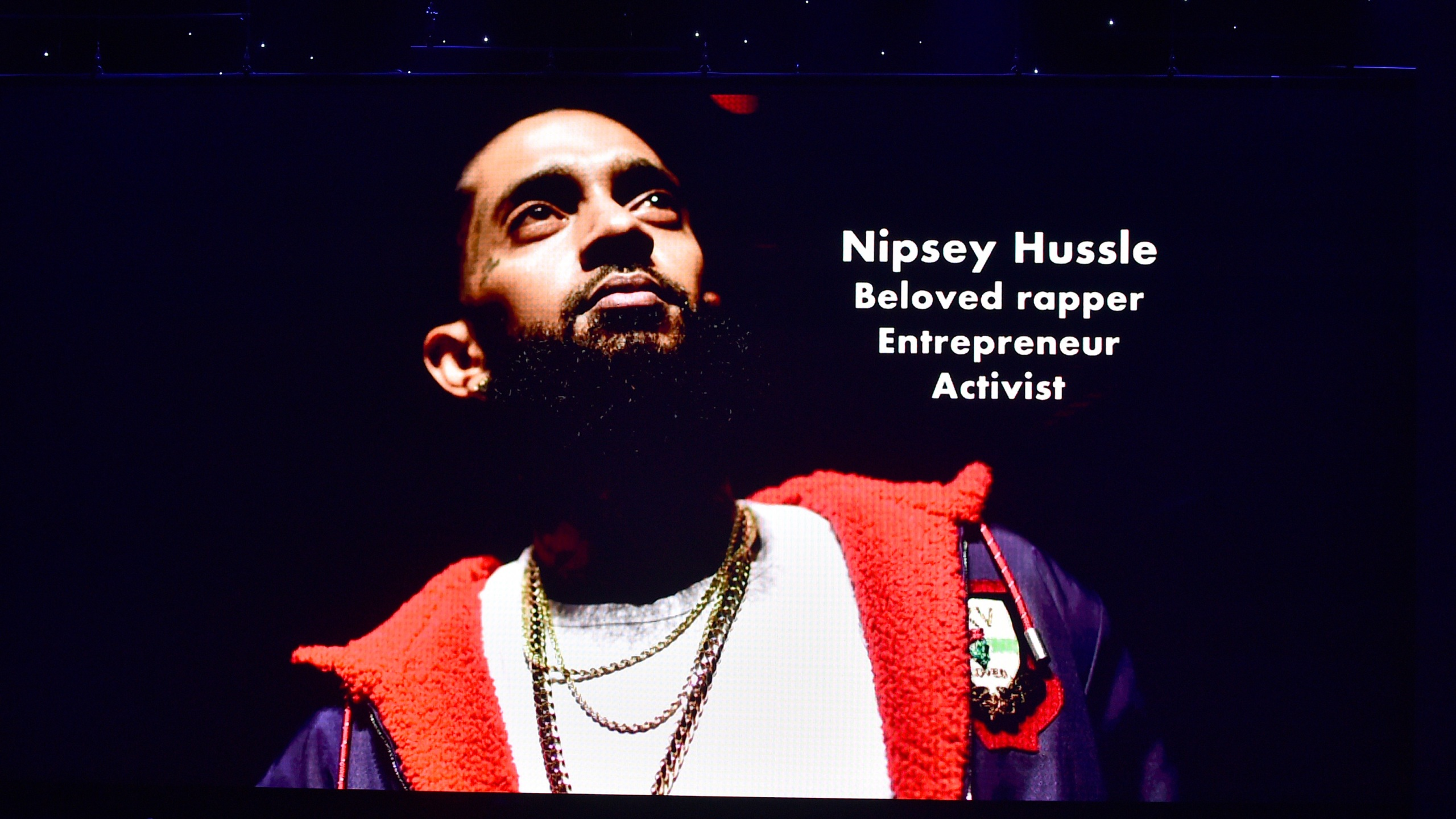 Nipsey Hussle is honored during the in memoriam onstage during the 51st NAACP Image Awards, presented by BET, at Pasadena Civic Auditorium on Feb. 22, 2020. (Aaron J. Thornton/Getty Images for BET)
