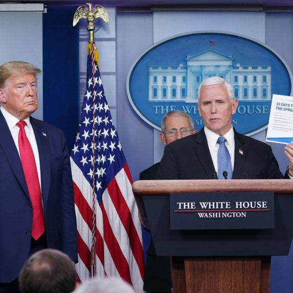 President Donald Trump (L) and Director of the National Institute of Allergy and Infectious Diseases Anthony Fauci (2nd L) listen as Vice President Mike Pence speaks during the daily briefing on the novel coronavirus, COVID-19, at the White House on March 24, 2020. (MANDEL NGAN/AFP via Getty Images)