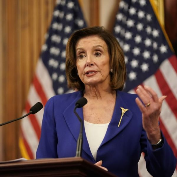 U.S. Speaker of the House Nancy Pelosi speaks to the press after the House passed a $2 trillion stimulus bill, on March 27, 2020, at the U.S. Capitol in Washington, D.C. (ALEX EDELMAN/AFP via Getty Images)