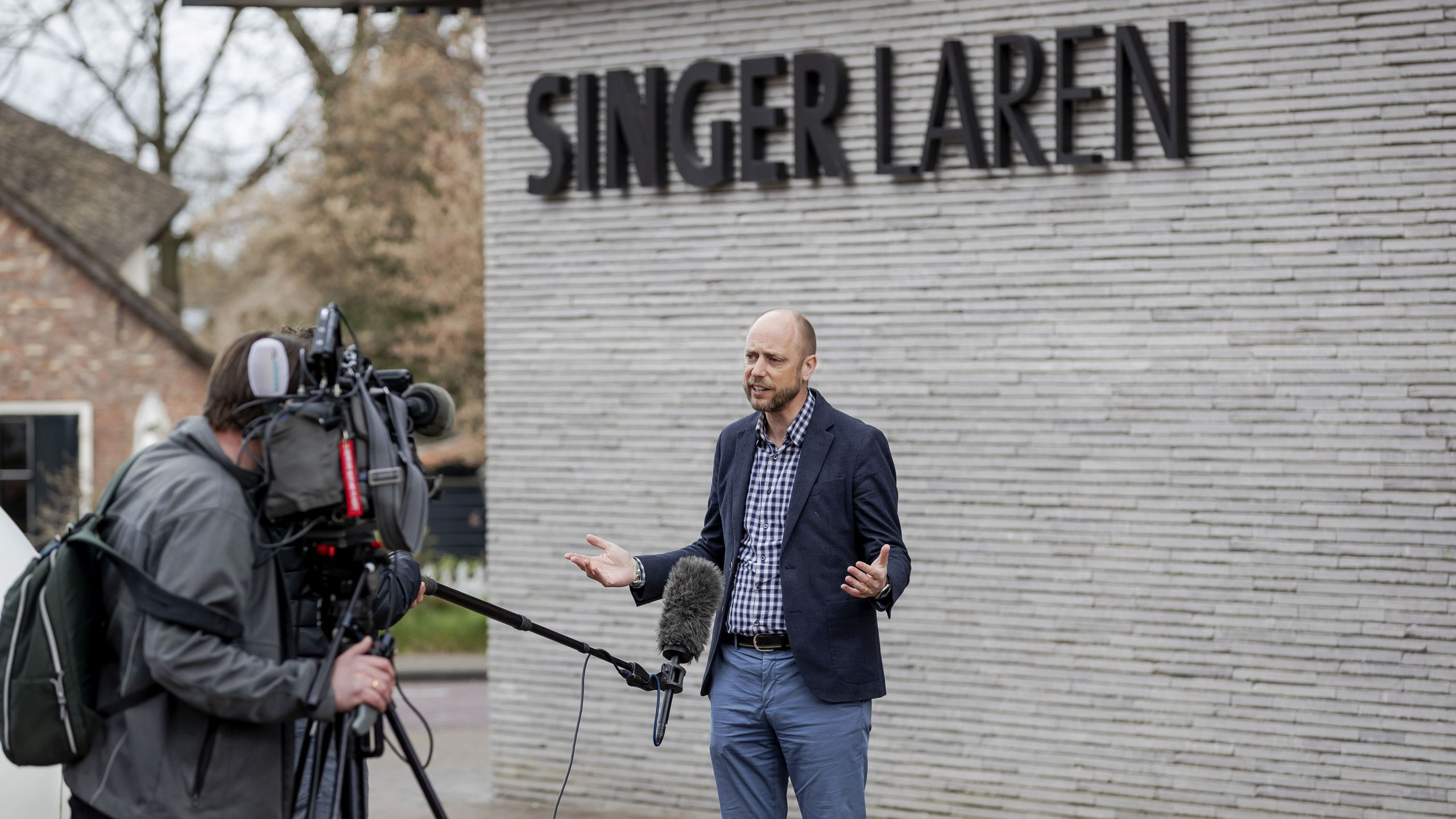 Evert van Os of Singer Laren Museum speaks to the press outside the museum on March 30, 2020 in Laren, Netherlands. (ROBIN VAN LONKHUIJSEN/ANP/AFP via Getty Images)