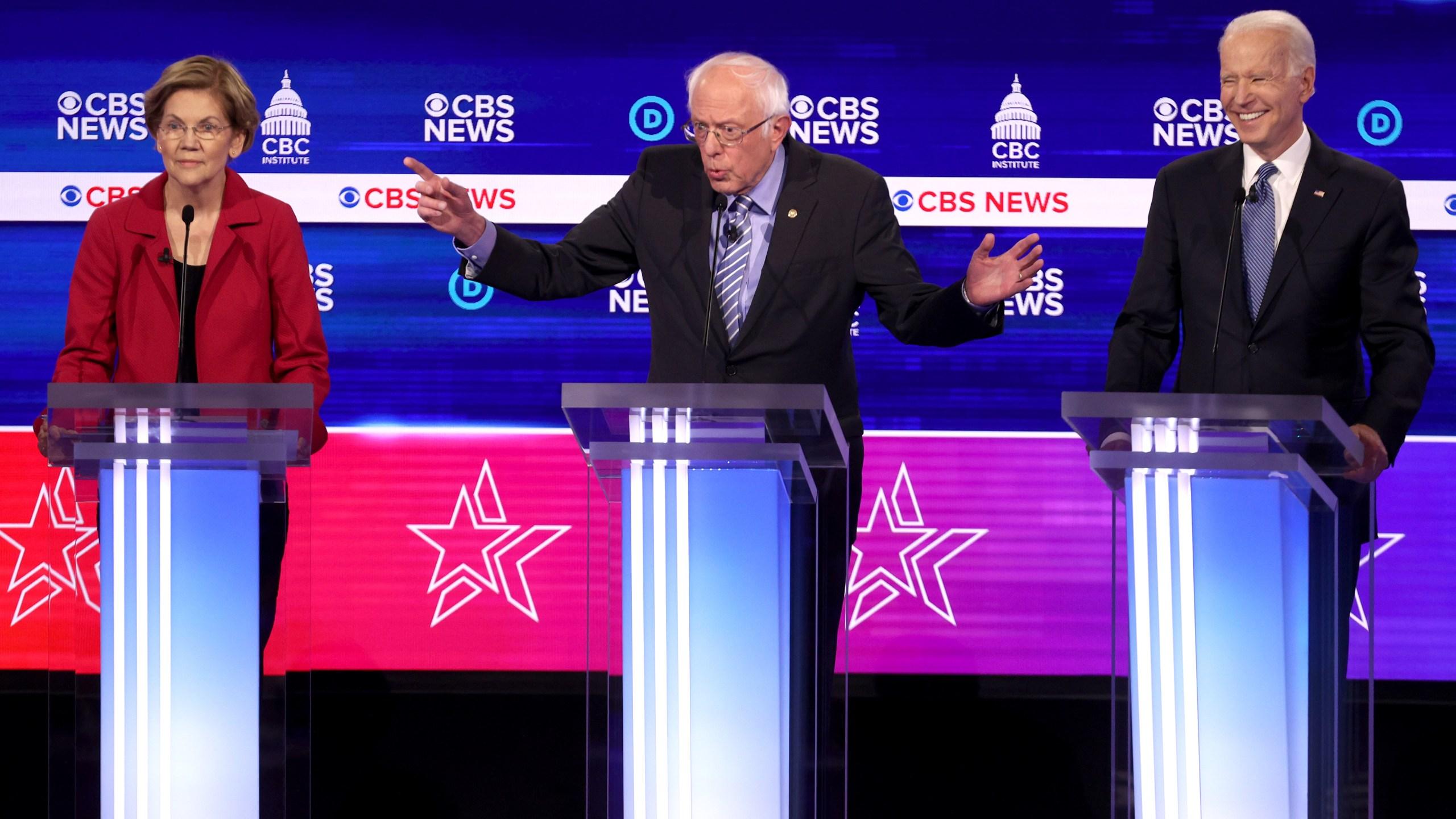 Democratic presidential candidates (L-R) Sen. Elizabeth Warren (D-MA), Sen. Bernie Sanders (I-VT) and former Vice President Joe Biden participate the Democratic presidential primary debate on Feb. 25, 2020 in Charleston, South Carolina. (Win McNamee/Getty Images)