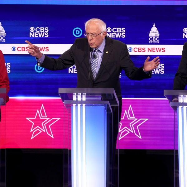 Democratic presidential candidates (L-R) Sen. Elizabeth Warren (D-MA), Sen. Bernie Sanders (I-VT) and former Vice President Joe Biden participate the Democratic presidential primary debate on Feb. 25, 2020 in Charleston, South Carolina. (Win McNamee/Getty Images)
