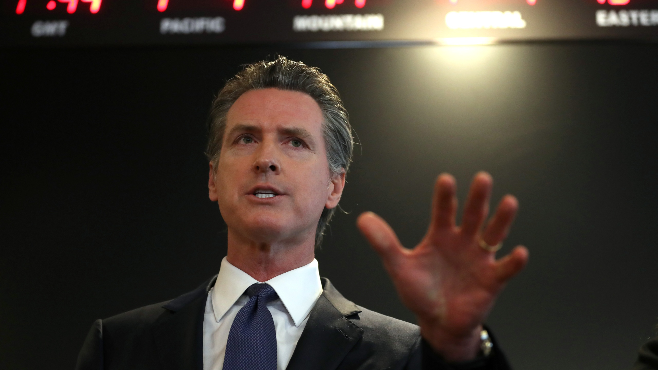 Gov. Gavin Newsom speaks during a news conference at the California Department of Public Health on Feb. 27, 2020, in Sacramento. (Justin Sullivan/Getty Images)
