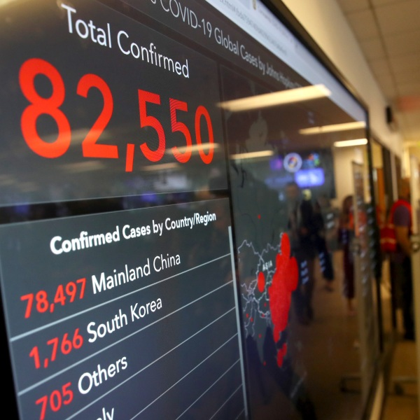 A video monitor inside the Medical Health and Coordination Center at the California Department of Public Health shows the number of Coronavirus COVID-19 cases around the world on Feb. 27, 2020, in Sacramento. ( Justin Sullivan/Getty Images)