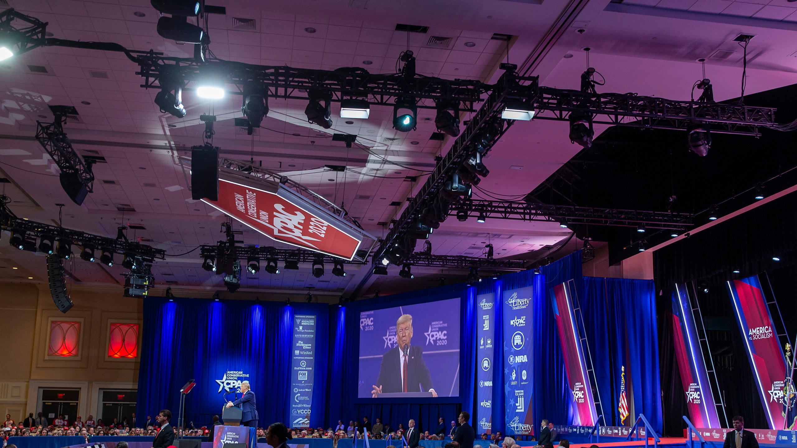 Donald Trump speaks during the annual Conservative Political Action Conference (CPAC) at Gaylord National Resort & Convention Center on Feb. 29, 2020 in National Harbor, Maryland. (Tasos Katopodis/Getty Images)