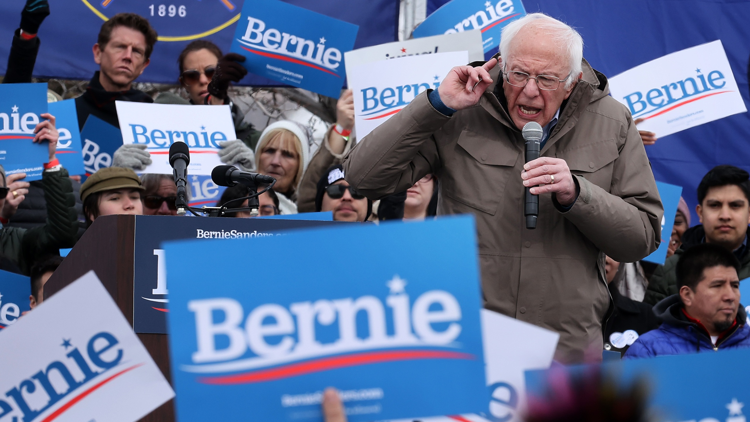 Democratic presidential candidate Sen. Bernie Sanders addresses supporters during a campaign rally on March 2, 2020, in Salt Lake City, Utah. (Chip Somodevilla/Getty Images)