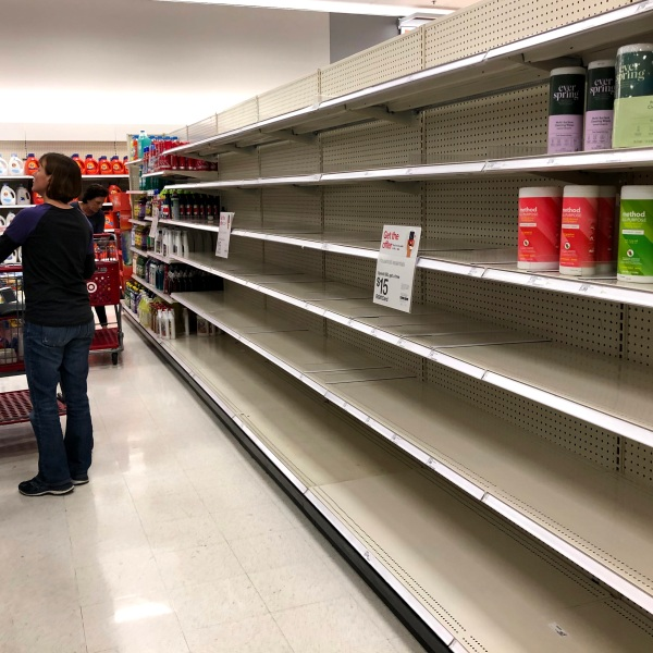 Shelves are seen nearly empty at a Target store on March 2, 2020, in Novato, California. (Justin Sullivan/Getty Images)