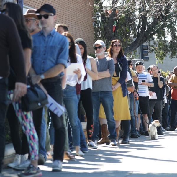 Voters wait in line to cast their ballots at a vote center at a Masonic Lodge on March 3, 2020 in Los Angeles. (Mario Tama/Getty Images)