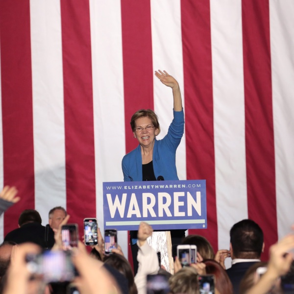 Democratic presidential candidate Sen. Elizabeth Warren speaks to supporters during a rally at Eastern Market as Super Tuesday results continue to come in on March 3, 2020, in Detroit, Michigan. (Scott Olson/Getty Images)