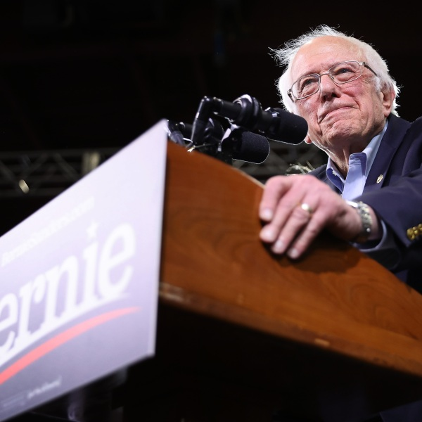 Democratic presidential candidate Sen. Bernie Sanders addresses a rally in Essex Junction, Vermont, on March 3, 2020. (Credit: Chip Somodevilla / Getty Images)