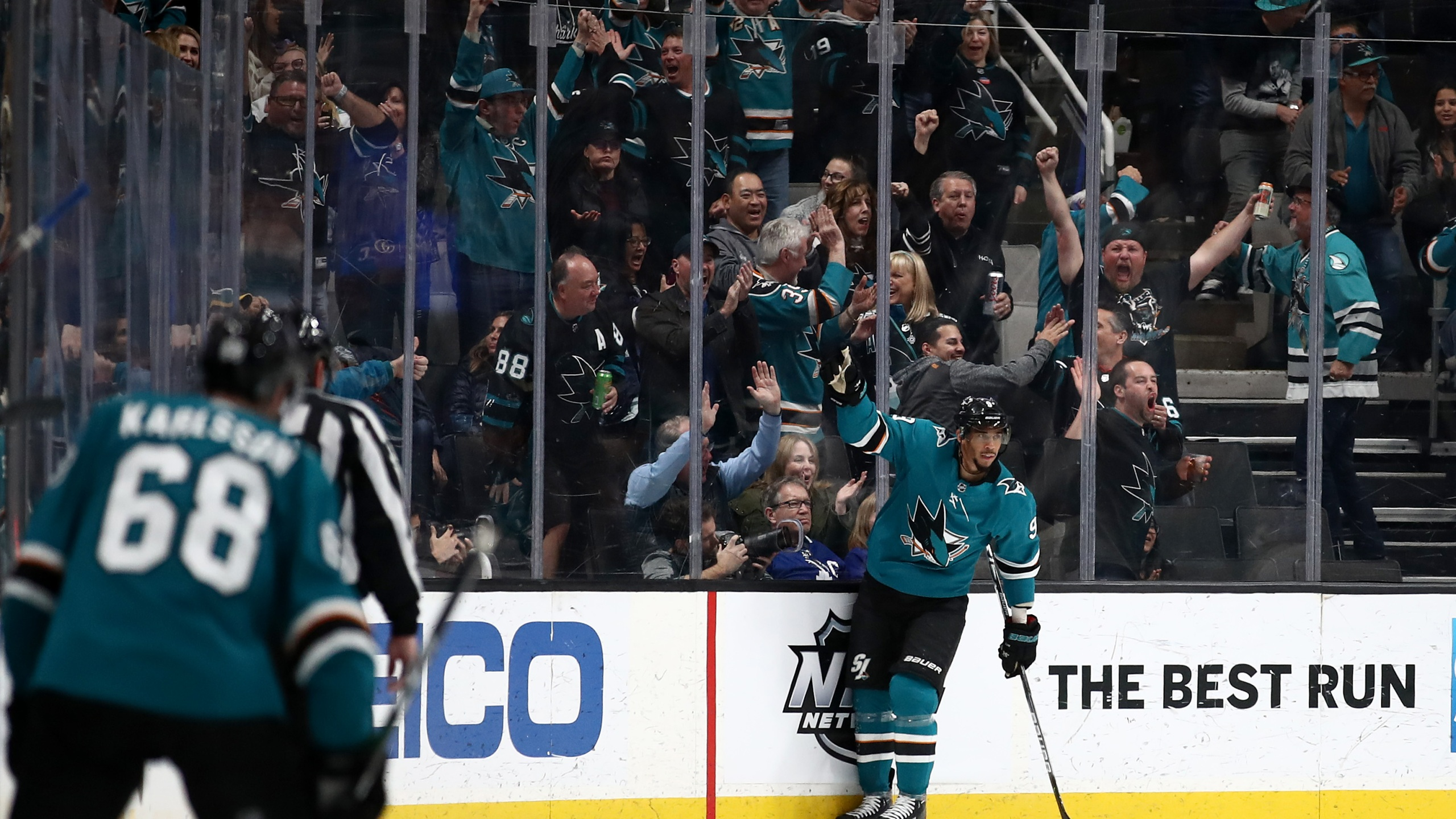 Evander Kane of the San Jose Sharks celebrates after scorinh a goal against the Toronto Maple Leafs in San Jose on March 3, 2020. (Credit: Ezra Shaw / Getty Images)