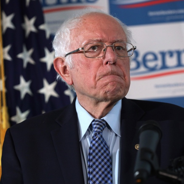 Democratic presidential candidate Sen. Bernie Sanders pauses during a news briefing at his campaign office in Burlington, Vermont, on March 4, 2020. (Credit: Alex Wong / Getty Images)