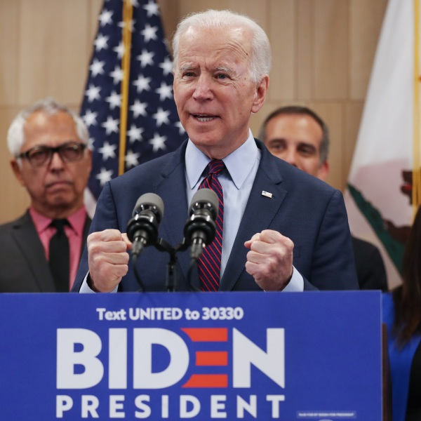 Democratic presidential candidate former Vice President Joe Biden speaks at a campaign event at the W Los Angeles hotel in Westwood on March 4, 2020. (Mario Tama / Getty Images)