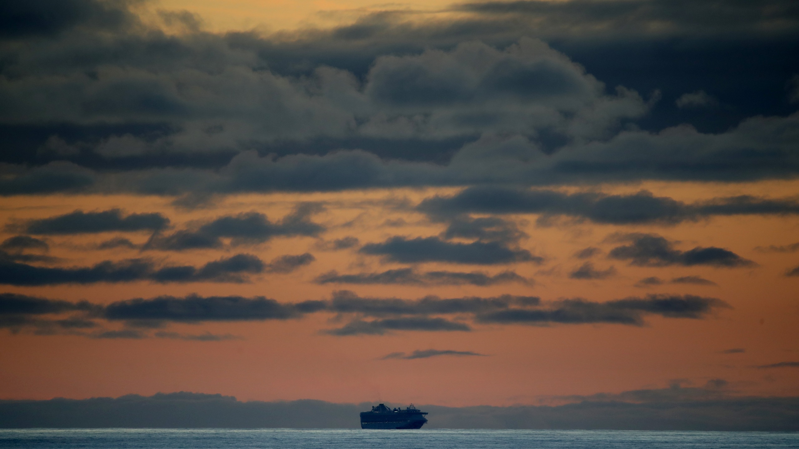 The Princess Cruises Grand Princess cruise ship sits off the coast of San Francisco as it takes on supplies on March 7, 2020 in San Francisco. (Justin Sullivan/Getty Images)